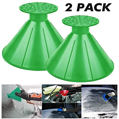 UNIHAO Car Ice Scraper, Round Windshield Ice Scrapers, Magic Cone Car Windshield Ice Scrapers, Snow Removal Shovel Tool, Car Funnel, 2 Pack, Green: Automotive