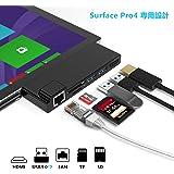 「最新型」Anikks Microsoft Surface Pro 4 用USB 3.0 ハブ ミニDP 6ポートアダプター 4K HDMI対応6in1ドッキステーション SD/Micro SDカードリーダー ネット接続ポー&2 USB 3.0 ポート付き mini DisplayPor マルチ変換 永久保証