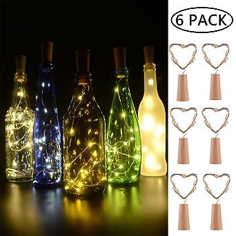 BizoeRade Flaschenlicht,6 Stück 30inch 15 LED Warmweiß Kupferdraht ...