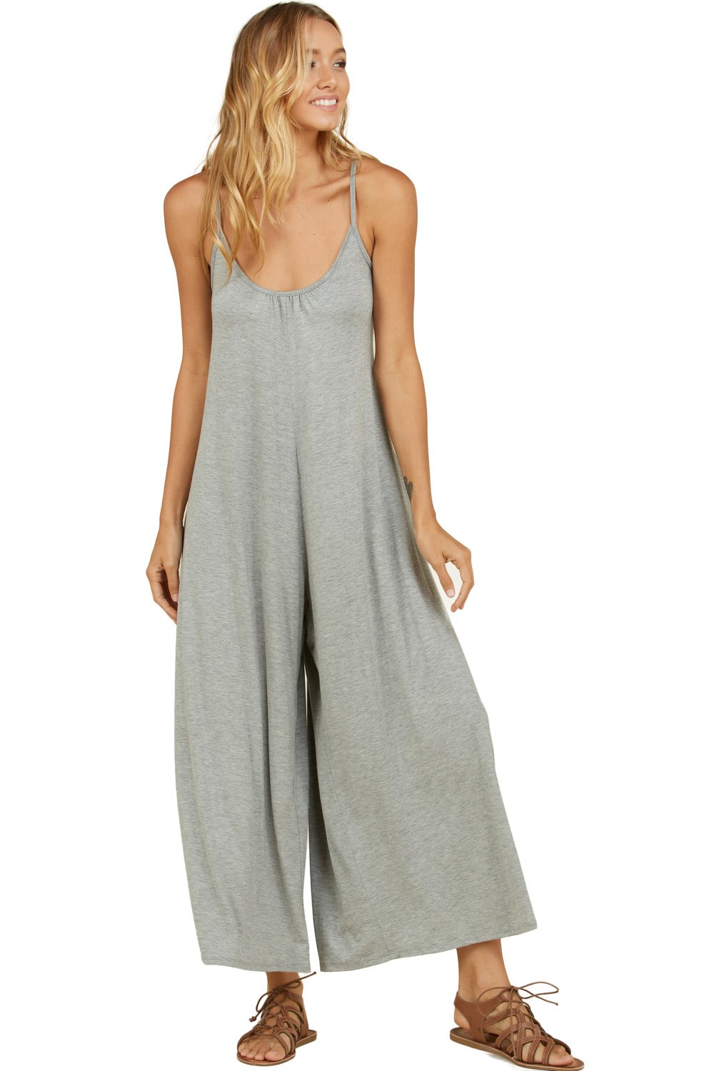 Annabelle Women's Wide Loose Leg Sleeveless Solid Plus Size Jumpsuit H Grey X-Large J8074P