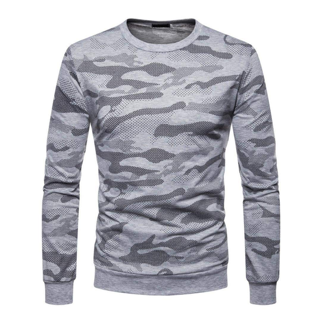 Casual Mens Long Sleeve Tops Sweatshirt,Sirs Camouflage Tops Male Autum Blouse Winter Clothes for Men