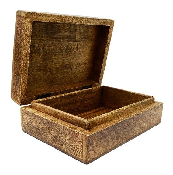 Legno massello intagliato celtico albero Tarot box 17,8/x 12,7/cm