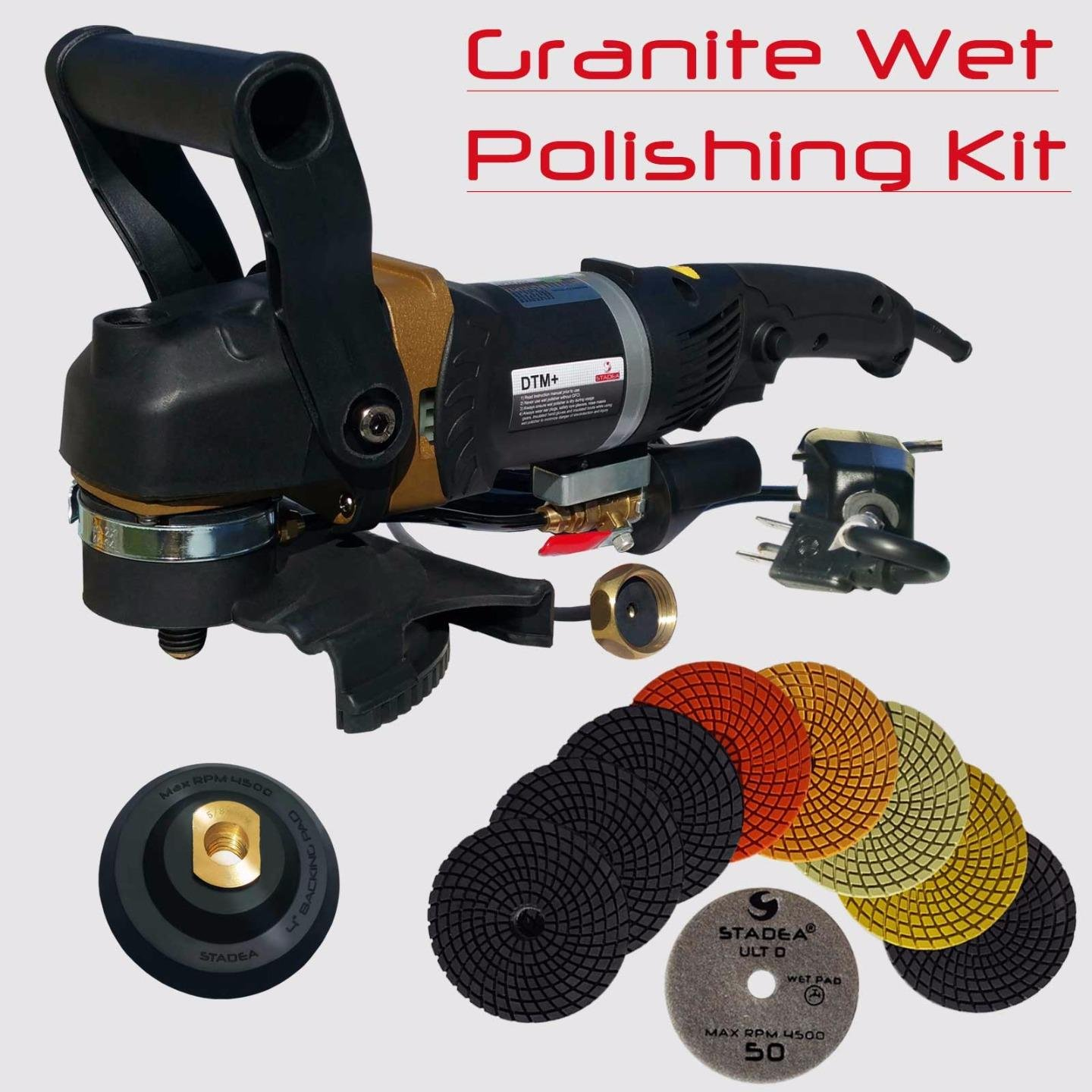 Stadea SWP108K Wet Stone Grinder Granite Wet Polisher – 5 Variable Speed Wet Polisher Grinder Kit with Diamond Granite Polishing Pads