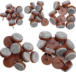 50Pcs FFfeily Furniture Glide Sliders Felt Pads Furniture Felt Pads Nails Floor Protectors for Hardwood Furniture Wooden Chair Tables Sofa Leg Feet,5 Sizes of Diameter 18mm/20mm/22mm/24mm/28mm