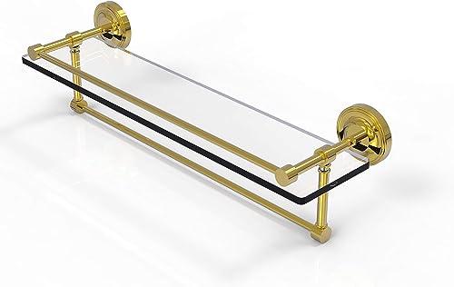 Allied Brass PRBP-1TB 22-GAL-PB 22 Inch Gallery Towel Bar Glass Shelf, Polished Brass