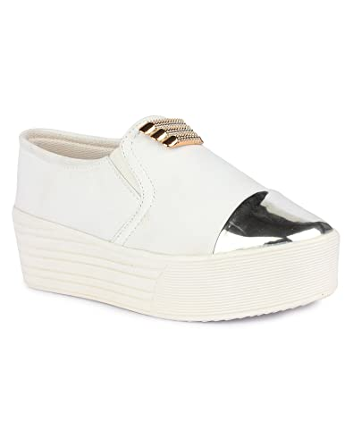 Bella Toes Designer Shoes Casual Shoes White Colour Fabric