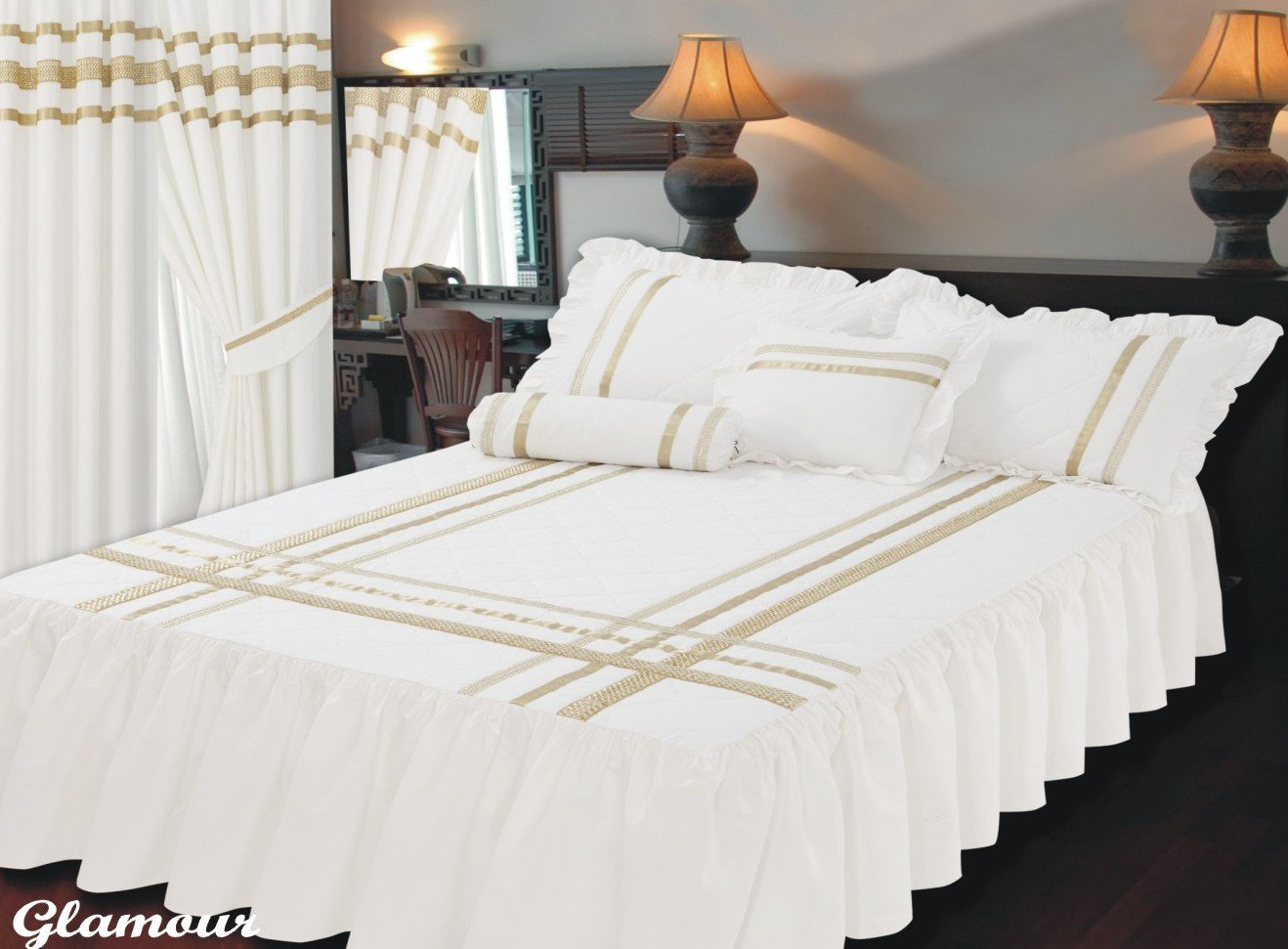 Double Bed Size Fitted Bedspread Glamour White With Gold Trim / Ribbon, Frilled Quilted Bedspread & Pillow Shams, Extra Deep 22