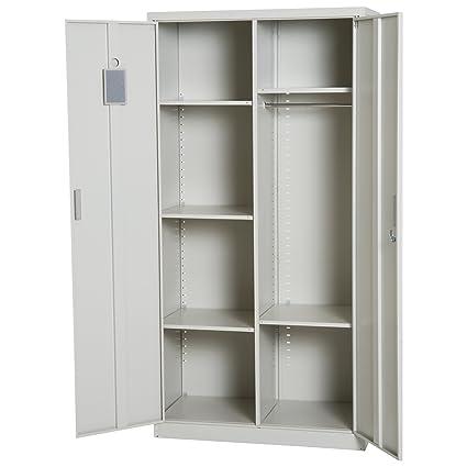 amazon com homcom 71 u201d cold rolled steel lockable garage storage rh amazon com cheapest garage storage cabinets cheap garage wall cabinets storage