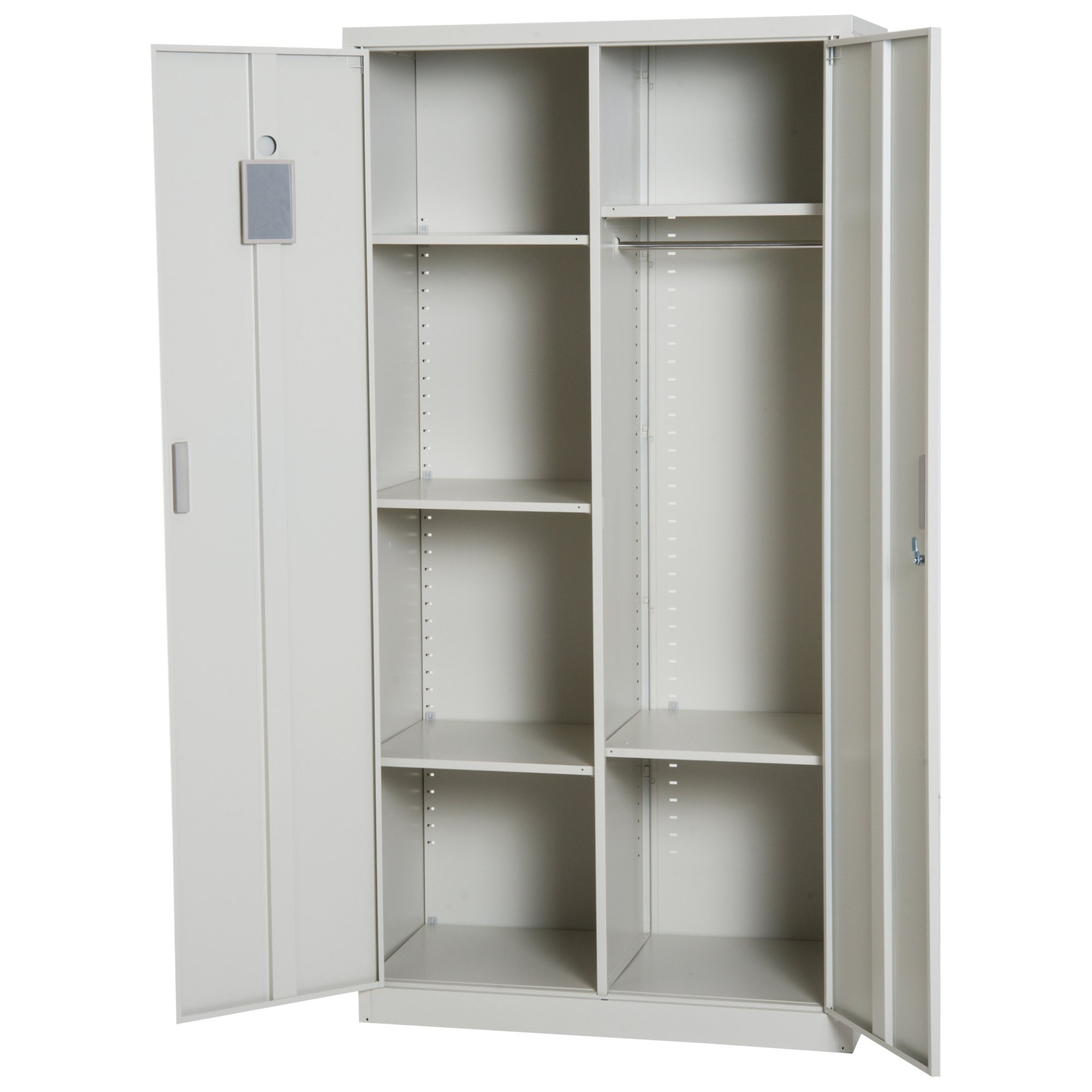 "HOMCOM 71"" Cold Rolled Steel Lockable Garage Storage Cabinet with Shelves - Cream White"