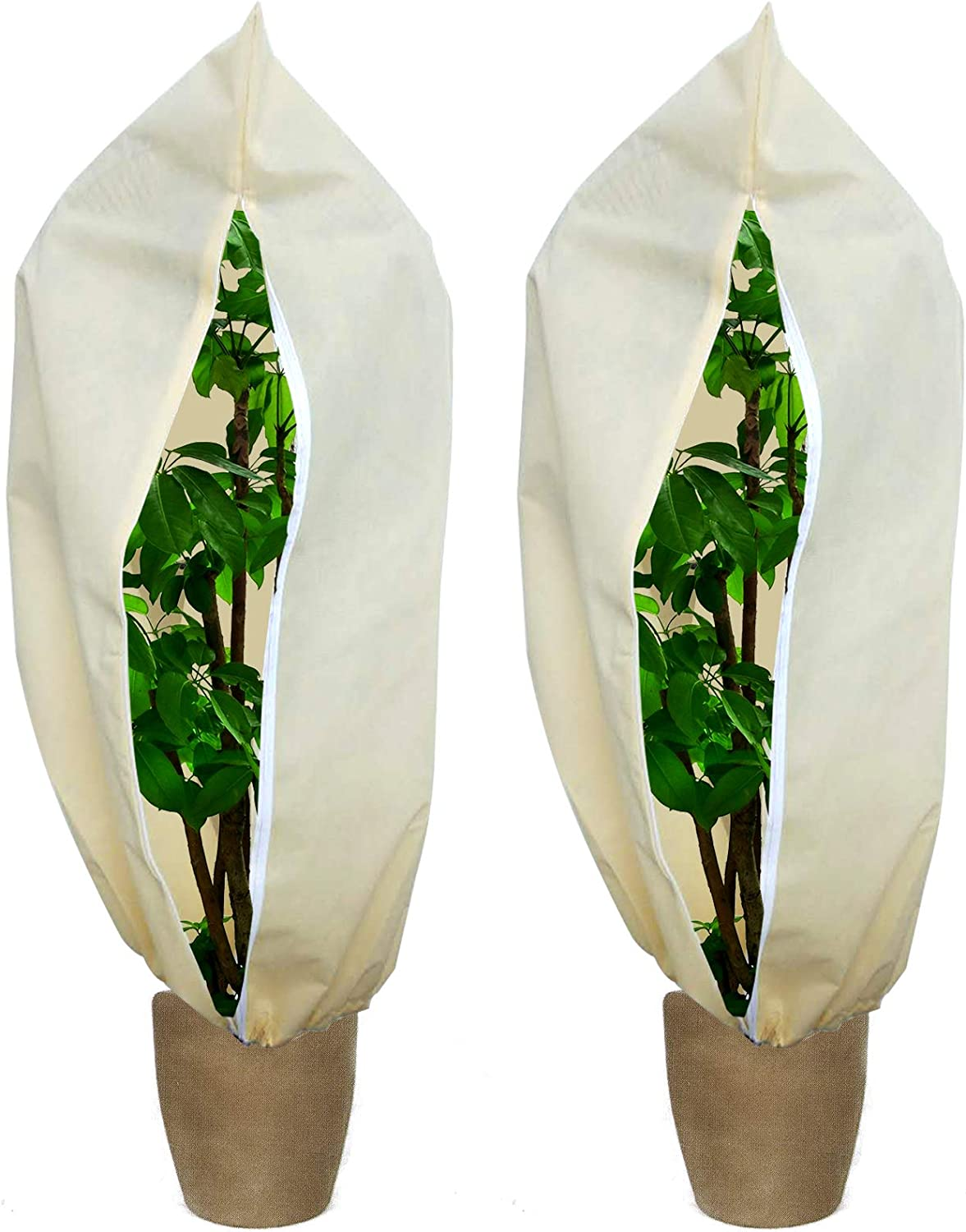 EBaokuup 2 Pack Winter Zipper Plant Covers with Drawstring - 47.2