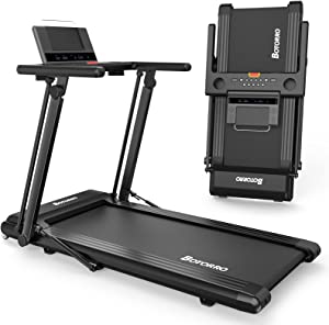 Folding Treadmill Exerciser Foldable Walk Running Machine Portable Treadmills for Home and Apartment LCD Display and Bluetooth Speaker No Assembly