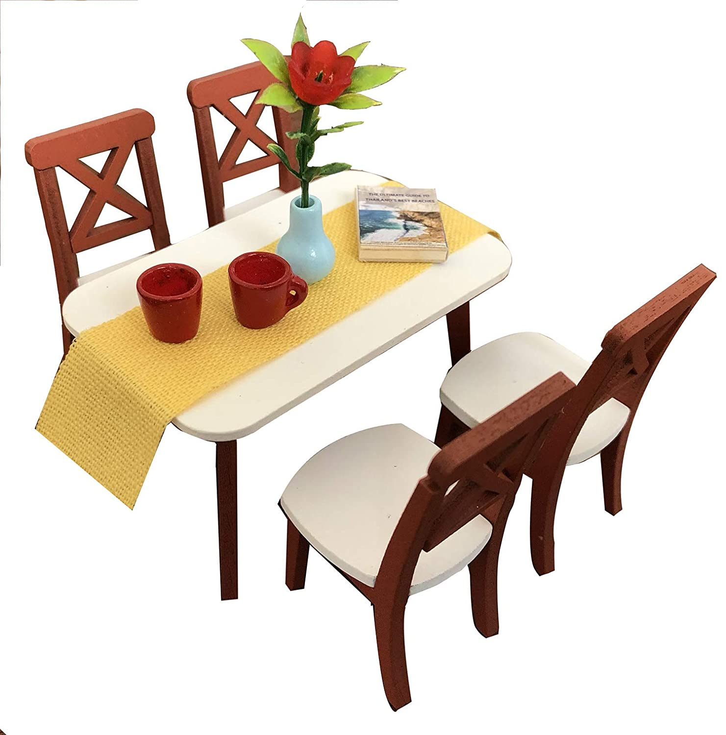 Inusitus DIY Dollhouse Dinning Room Kit | Table and (4) Chairs | Miniature Furniture | Dolls House Kits | Requires Assembly | 1/18 Scale (Dining-4-Chairs)