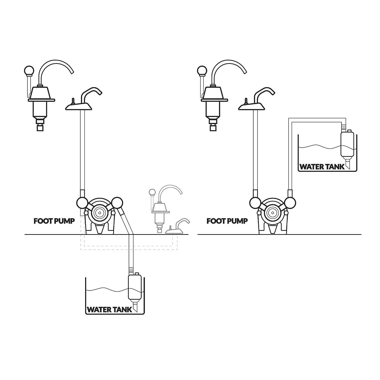 Marine Manual Galley Head Water Foot Pump For Boat Caravan Rv Wiring Diagram Five Oceans Bc 741 Sports Outdoors