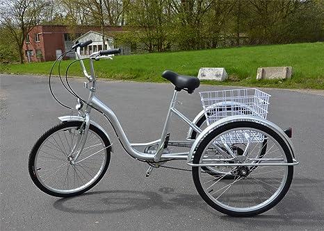 Ectxo Triciclo para adultos 24 pulgadas 6 velocidad 3 rueda ...