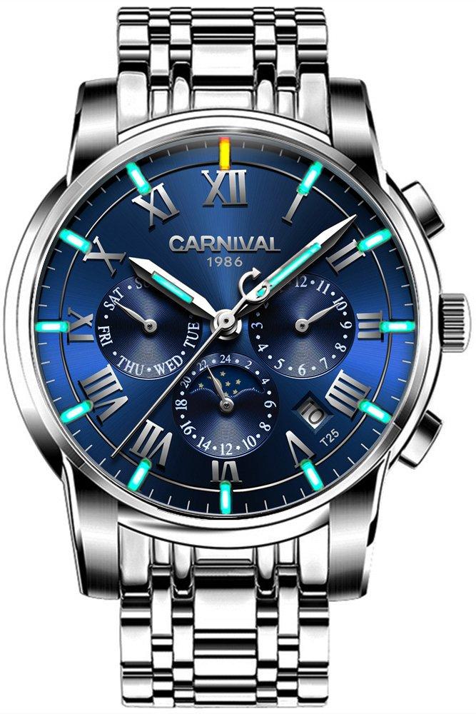 Men's Complications Automatic Mechanical Watch Military Tritium Gas Super Bright Blue or Green Luminous (Blue)