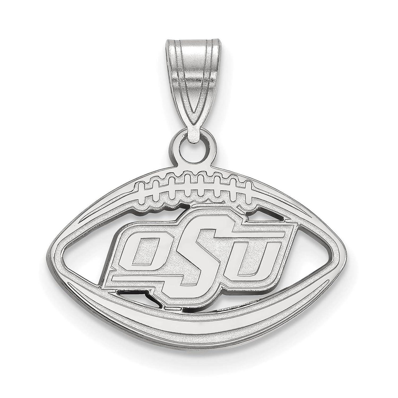 925 Sterling Silver Rhodium-plated Laser-cut Oklahoma State University Football Pendant