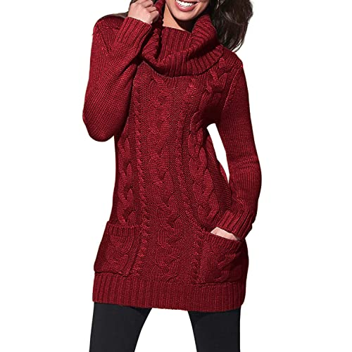 f03dc16d13 Asvivid Women Turtleneck Cable Knit Sweater Dress Long Sleeve Slim Pullover  Top Size UK6-20