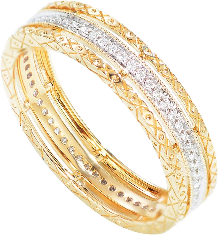 KnSam - Anillo de oro de 18 quilates, 750 anillos, oro para niña, bohemio, hueco, diamante, 0,18 quilates, para mujer, niña, boda, matrimonio, anillo de compromiso, regalo