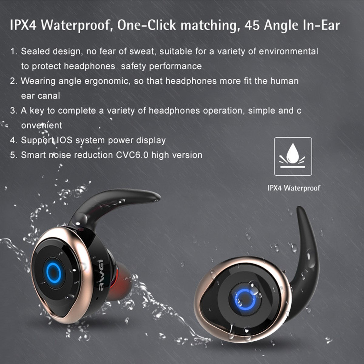 Awei T1 Single/Pairs Ture Wireless Get Rid Of Wire Binding earbuds, One Button Operation Bluetooth V4.2 Waterproof IPX4 Sport Headphones for Running Gym Exercise Hands-free Calling for iphone7(Gold) by AWEI (Image #5)