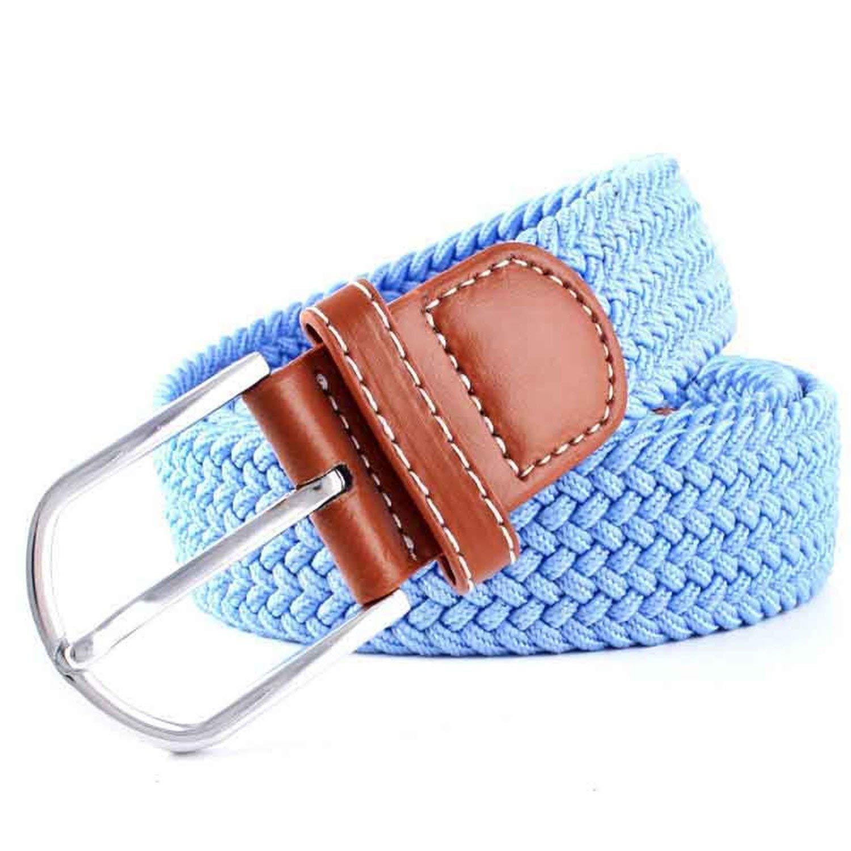OnIn Women Solid Canvas Woven Leather Belts Pin Buckle Elastic Waist Belt Jeans,106x3.3cm,16