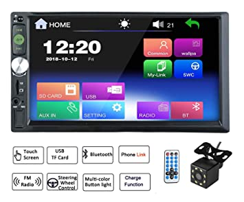Elerose 2 Din Autoradio 7HD Touchscreen Bluetooth Auto MP5 Player FM Radio GPS AUX Fernbedienung R/ückfahrkamera
