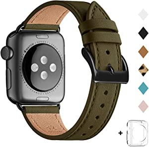 Bestig Band Compatible for Apple Watch 38mm 40mm 42mm 44mm, Genuine Leather Replacement Strap for iWatch Series 6 SE 5 4 3 2 1, Sports & Edition (Olive Green Band+Black Adapter, 38mm 40mm)