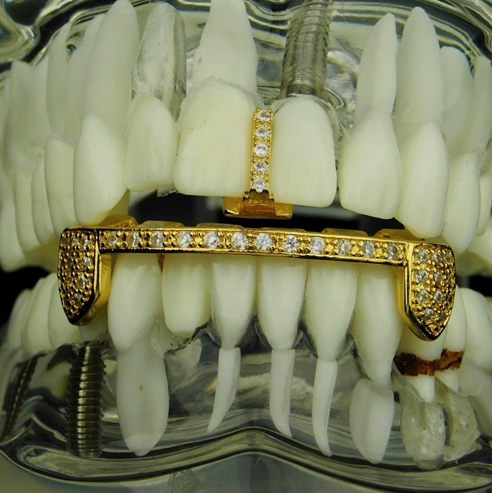 14k Gold Plated Grillz Set Gap Tooth with Bottom Bar CZ Iced Teeth Grills by Best Grillz