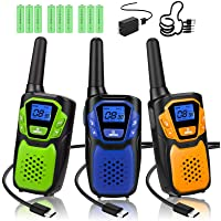 $51 » Walkie Talkies 3 Pack, Rechargeable Easy to Use Family Walky Talky Long Range 2 Way…