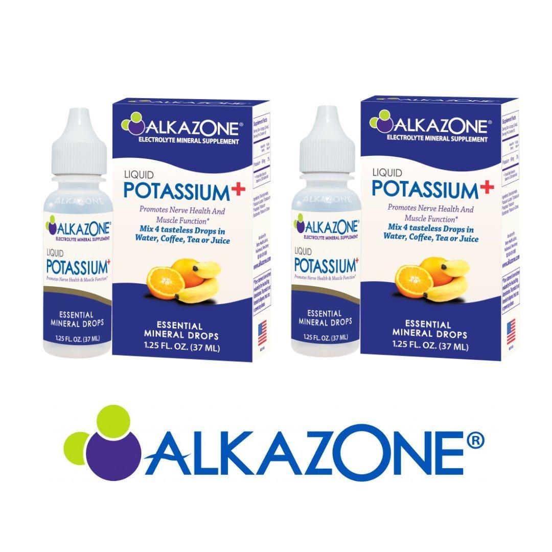 ALKAZONE Liquid Potassium+ Electrolyte Mineral Supplement 1.25 oz (2 Packs)