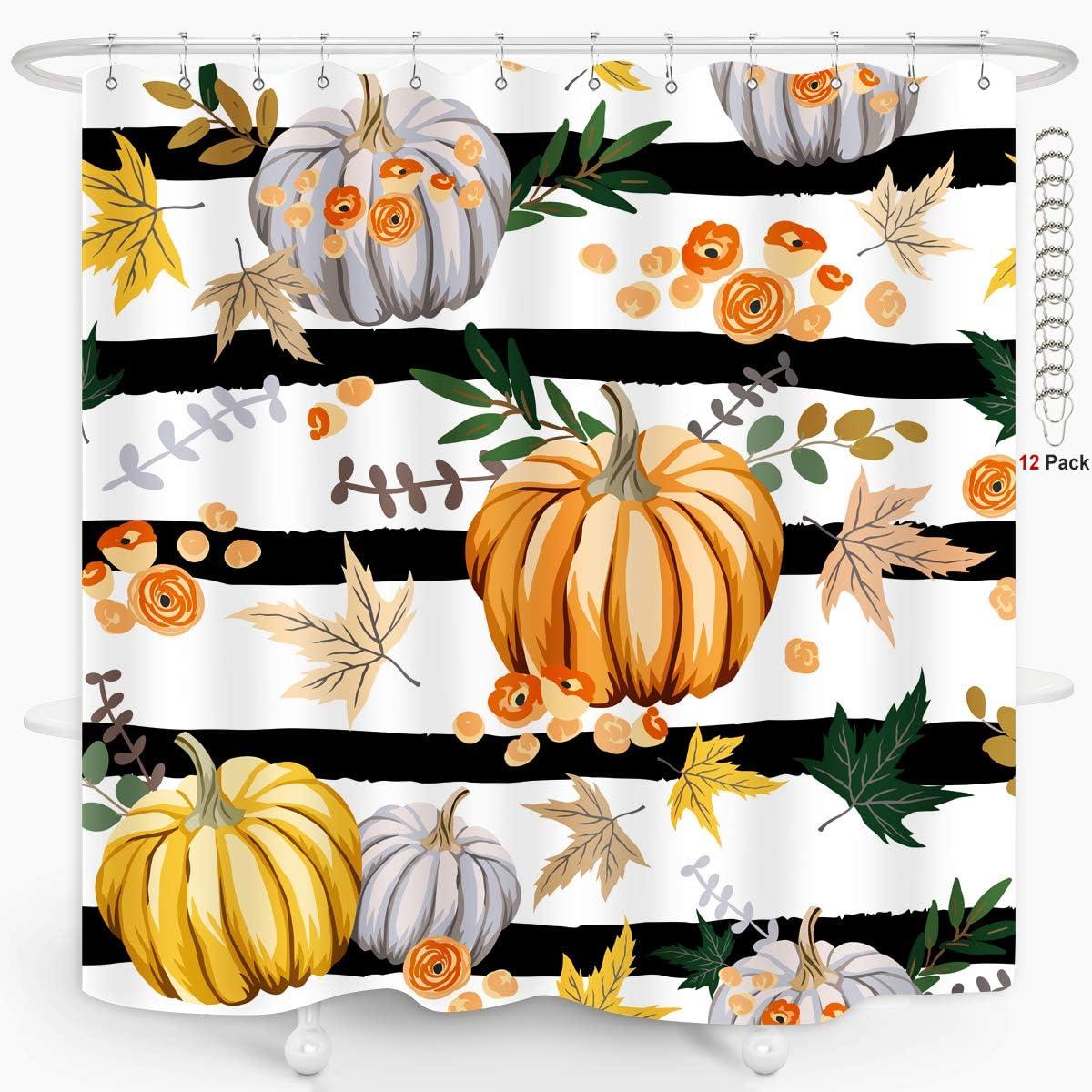 ZXMBF Fall Pumpkin Shower Curtain Metal Hooks 12PCS Autumn Harvesting Farmhouse Stripe Thanksgiving Home Bathroom Décor Waterproof Fabric 72x72 Inch