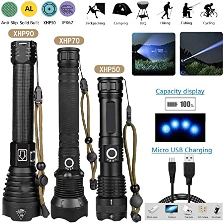 250000 Lumens Xhp90 Lampe de poche Led la plus puissante Xhp70.2 Lampe torche rechargeable Xhp50 26650 18650 Flash Light Zaklamp