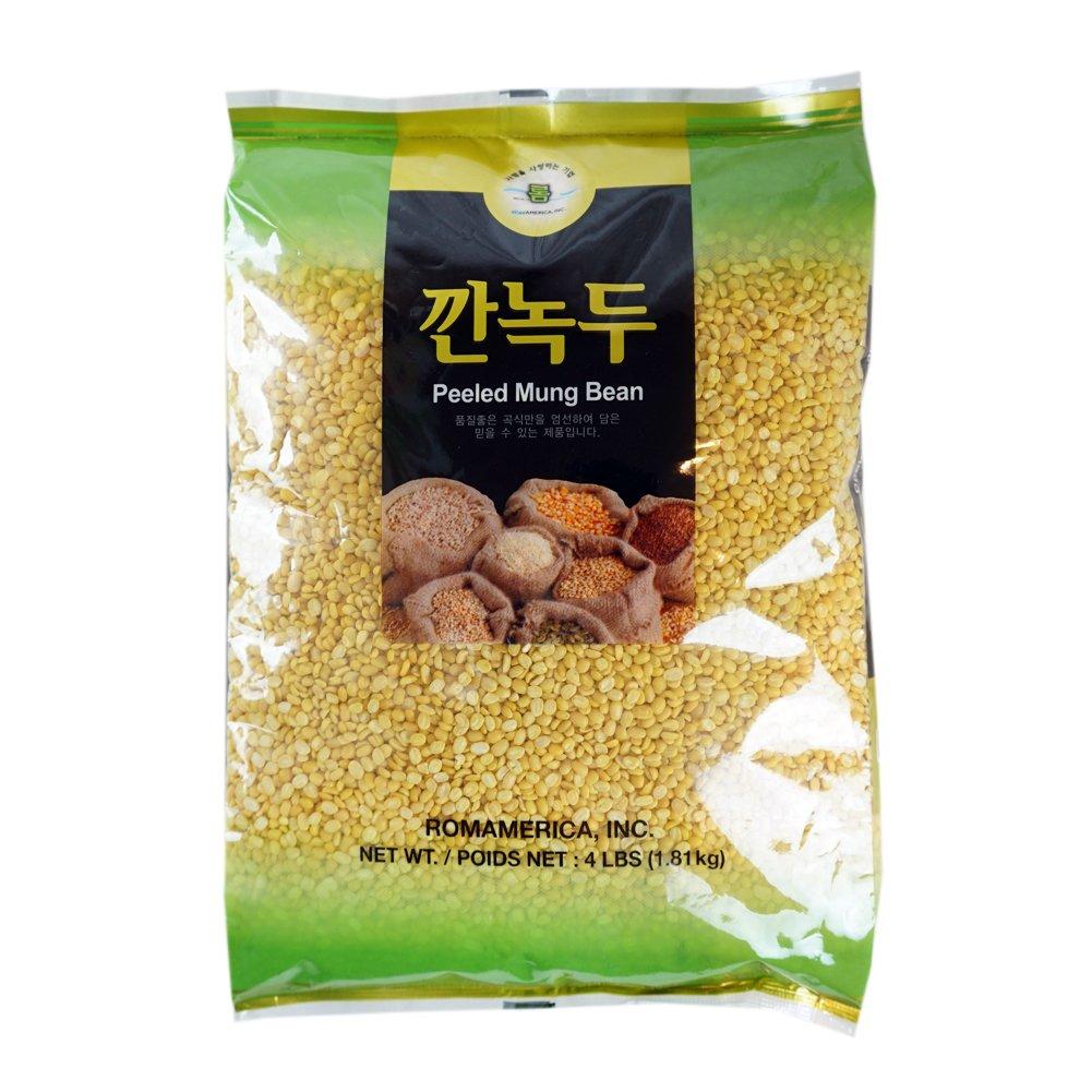 ROM AMERICA [4 Pound ] Peeled Yellow Mung Beans 깐녹두