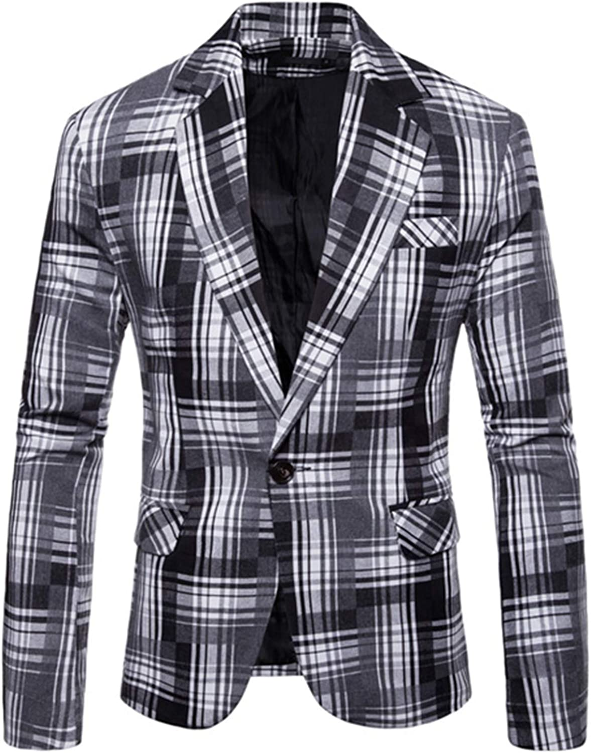 Gradient Designed Plaid Suit Men Single-Breasted Blazer Jacket Mens Slim Business Casual Holiday
