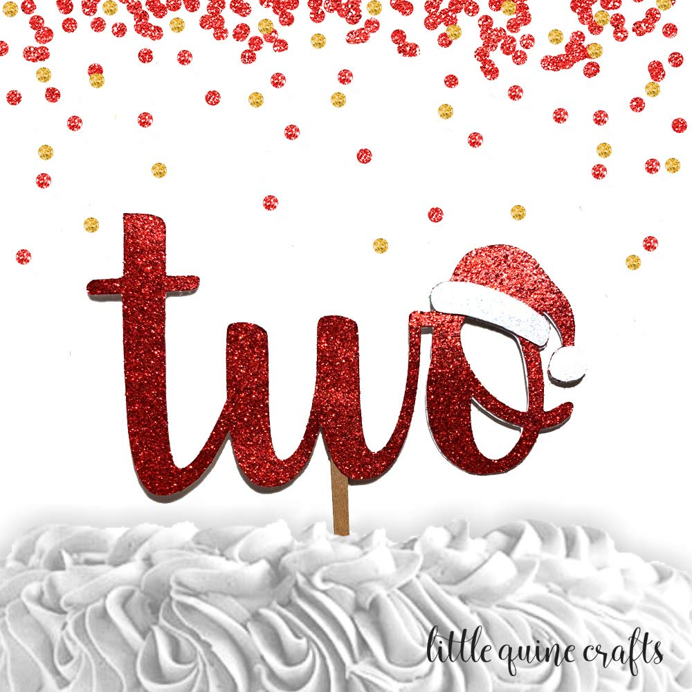 1 pc two Santa hat red green glitter cake topper second birthday winter wonderland christmas theme