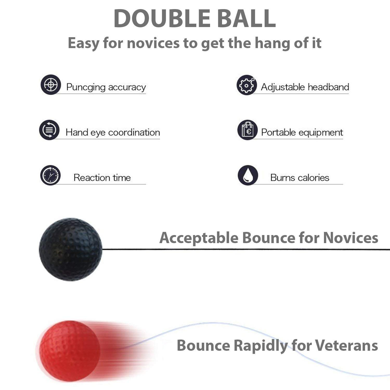 EVERMARKET Fight Ball Hand Eye Coordination Boxing Training Equipment Two Level Punching Reflex Balls Silicone Sport Headband for Adults Kids by EVERMARKET INC (Image #3)