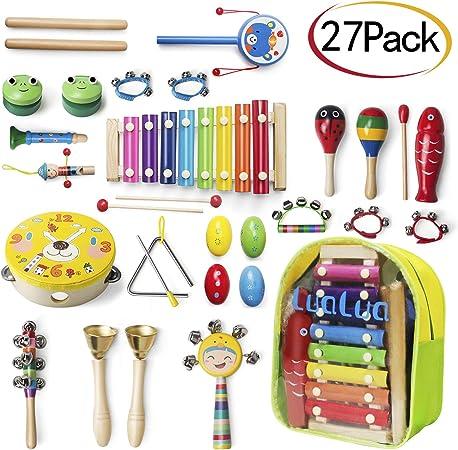 LuaLua - Juguetes musicales para niños de 1 2 a 3 años, 27 piezas, juego de percusión infantil de madera Xylophone Instrumento de madera juguetes para ...