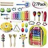 LuaLua Toddler toys Musical Instruments for 1 2 3 year olds 27 pcs Kids Percussion Set Child Wooden Xylophone Instrument wooden toys for Boys and Girls presents with Storage Backpack