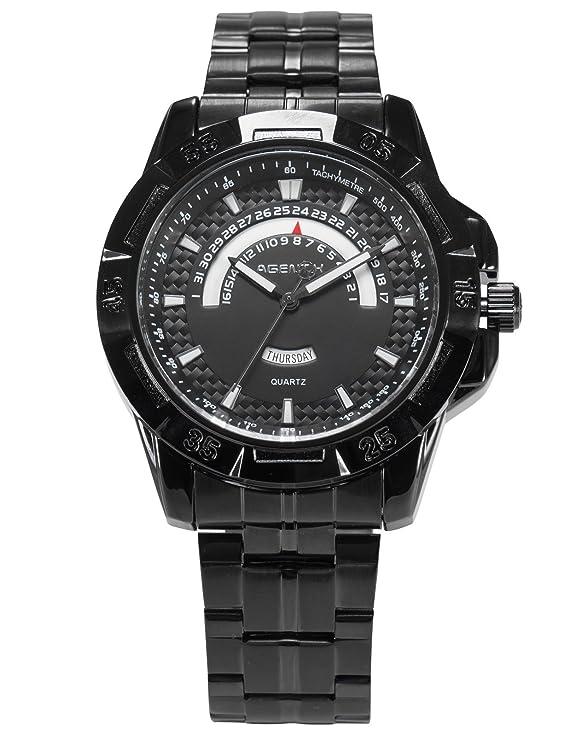 Amazon.com: HELMASK watch - Stainless Steel Black Round man ...