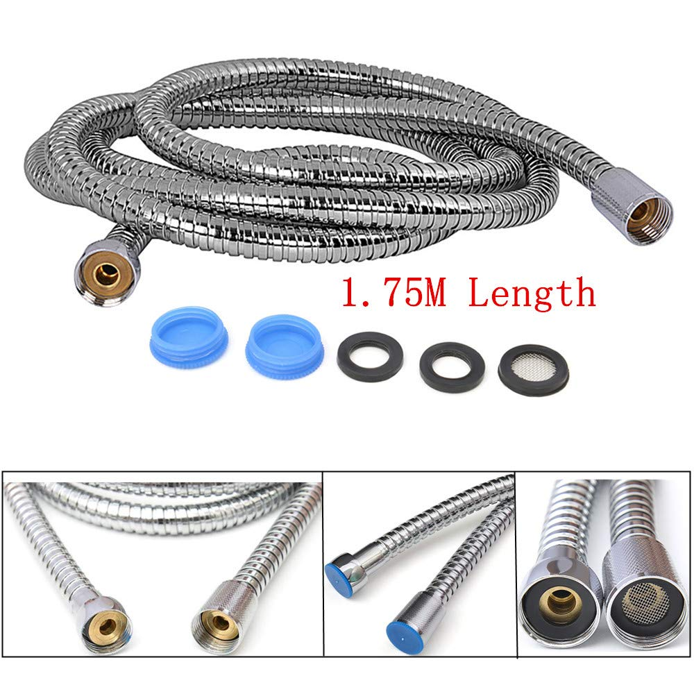 Awineur 1.75 m (175, 3 cm) Flexible de douche en acier inoxydable de remplacement Flexible de douche avec raccord en laiton Ressort de avec 3 rondelles –  Finition chrome AngXiong