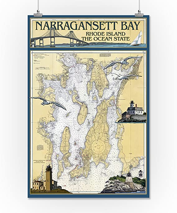 Amazon Com Narragansett Bay Rhode Island Nautical Chart 16x24 Giclee Gallery Print Wall Decor Travel Poster Posters Prints