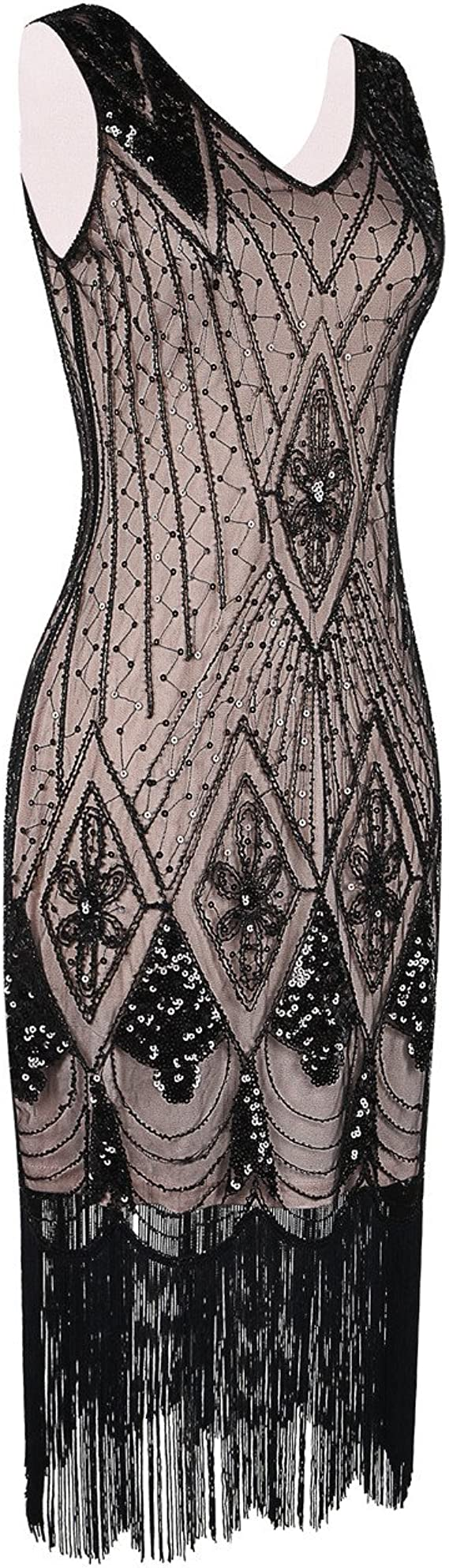 1920s Plus Size Flapper Dresses, Gatsby Dresses, Flapper Costumes PrettyGuide Women 1920s Gatsby Cocktail Sequin Art Deco Flapper Dress $44.99 AT vintagedancer.com