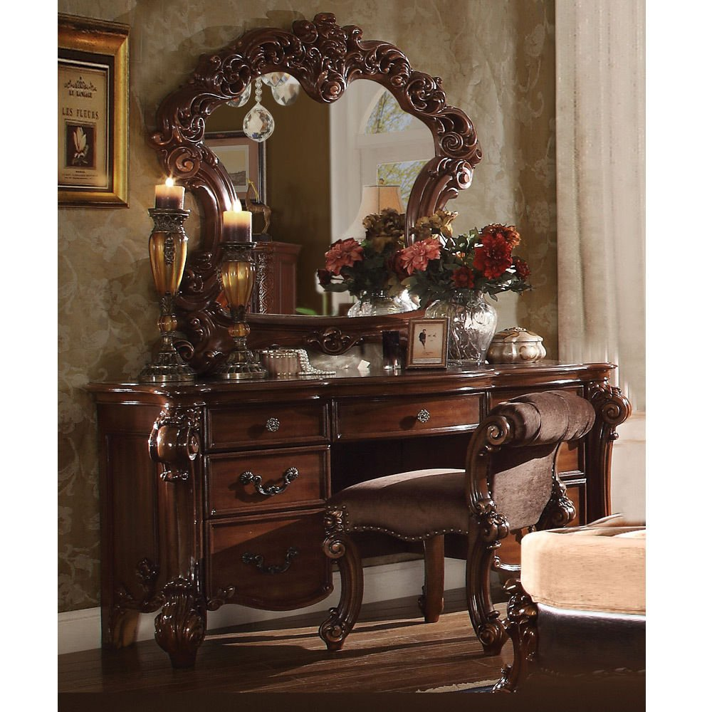 1PerfectChoice Vendome Bedroom Luxury Vanity Table Makeup Desk Mirror Stool Scroll Wood Cherry