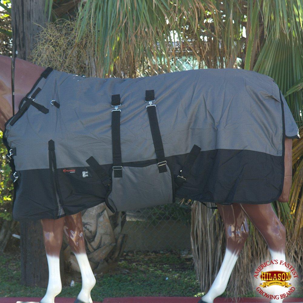 HILASON 78'' 1200D WINTER WATERPROOF HORSE BLANKET BELLY WRAP GREY BLACK