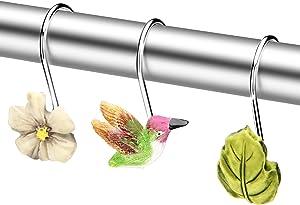 Shower Curtain Hooks, Fitnate 12 PCS Anti-Rust Decorative hummingbird Shower Curtain Hooks for Home, Bathroom, Bedroom, Baby Room, Living Room & More –hummingbird/flowers/leaves