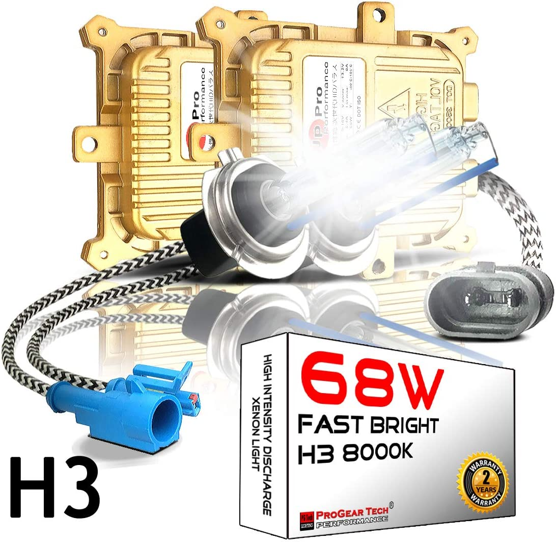 68W 6000K Heavy Duty Fast Bright H1 AC HID Bulbs Bundle with AC Digital Slim Ballasts for 12V NON-CANBUS Vehicles Daylight White