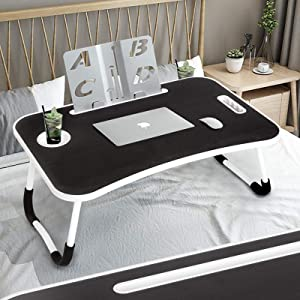 Laptop Bed Study Table Desk, Categorical Laptop Bed Tray Table, Small Table with Handle Storage Drawers -Fits Up to 17 Inch Laptops - Style No. 0201