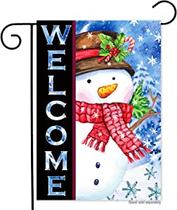 Winter Christmas Snowman Welcome Garden Flag-12x18 Double Sided Buffalo Plaid Holiday Xmas Happy New Year Vertical Yard Flags Banner for Lawn House Christmas Outside Decorations