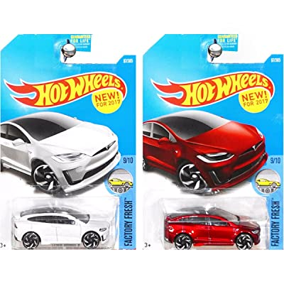 2020 Hot Wheels Factory Fresh 9/10 - Tesla Model X (White & Red) - Set of 2!: Toys & Games
