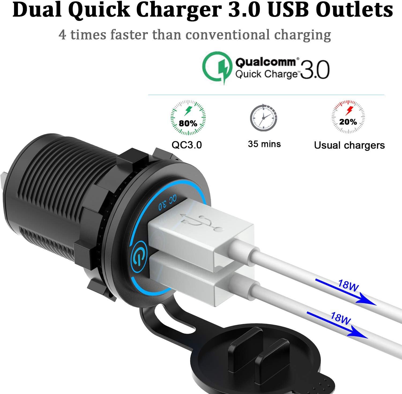 Qc 3 0 Auto Usb Steckdose 12v 24v Mit Schalter Quick Elektronik