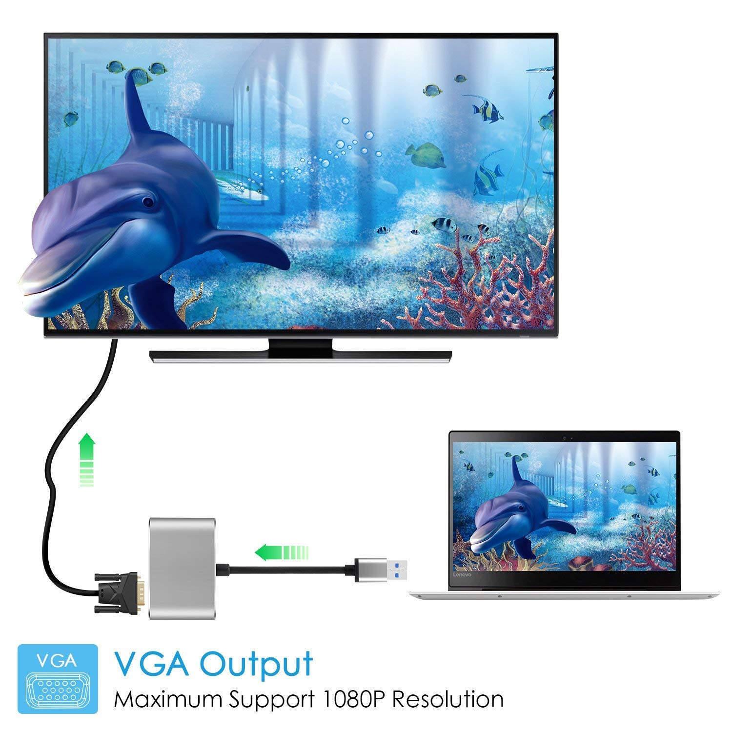 USB 3.0 to HDMI VGA Adapter, 2 in 1 USB to HDMI Adaptor 1080P for Windows7/8/10